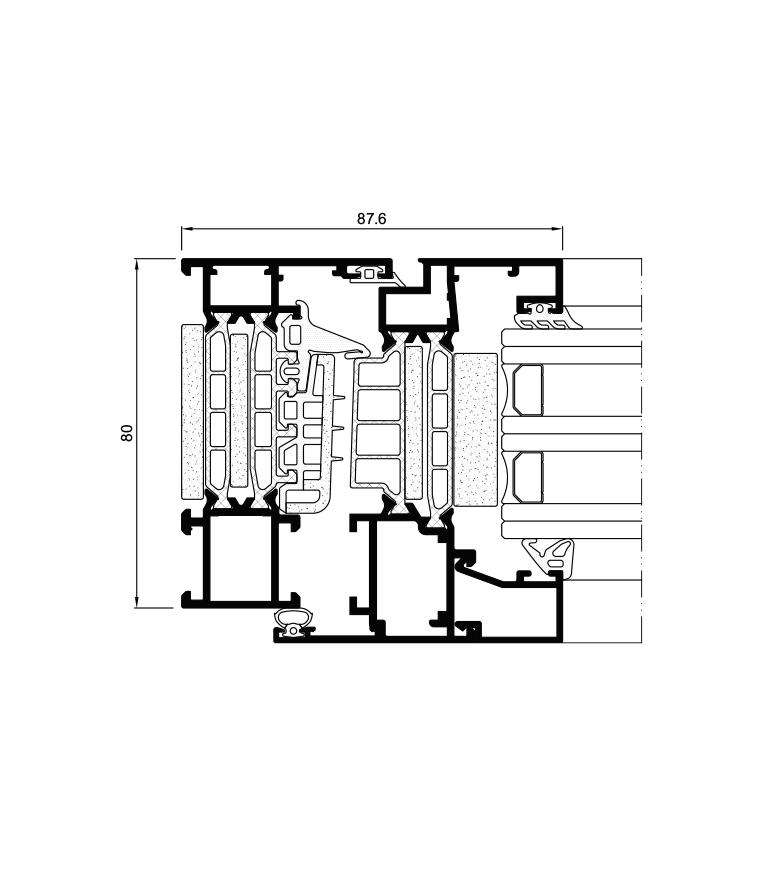 Secção do sistema COR 80 Industrial RPT / Passivhaus